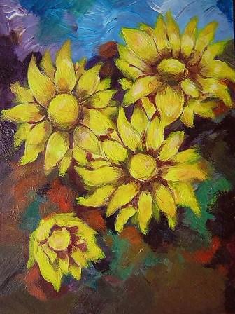 Flores amarillas. Acrilico Medias aprox. 20X15cm. Precio (sin marco) S/. 50.00